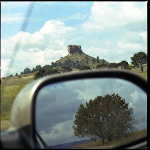Africal landscape in a rear view mirror