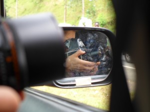 My battered Hasselblad pictured in the wing mirror