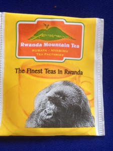 Sad looking Gorilla advertises Rwandan finest tea
