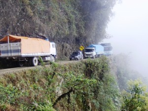 Lorry pile up on Camino de la Muerte