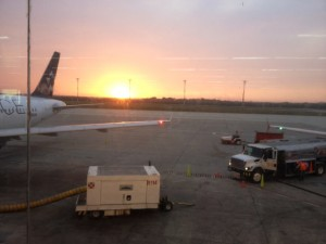 Sunset view from departure lounge at Barranquilla airport, Colombia