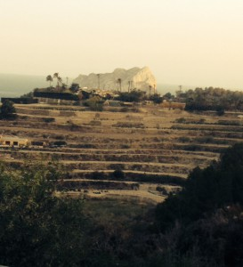 My favourite view  of the irrigated fields from Benimarco with Mt Ifach in the background, Calpe, Spain