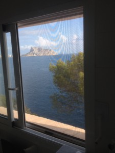 Mt Ifach, nr Calpe through mosquito net, from my room, Spain.